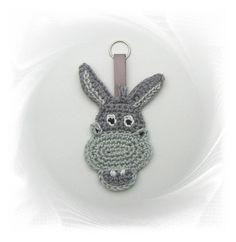 gehäkelter Esel als Anhänger, Schlüsselanhänger, Taschenanhänger..., donkey key chain