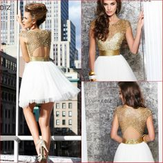 2014 Fashion Free Shipping Beautiful New White and Golden Puffy Short Girls Sexy Christmas Party Sequin Dresses US $116.91