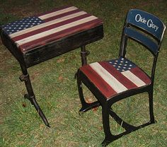 School desk painted with Americana.  So cute ! Altho I LOVE Americana, I still dont think I could paint an anitque desk