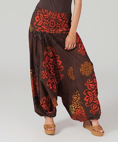 Another great find on #zulily! Brown & Coral Convertible Harem Pants #zulilyfinds