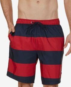 """Nautica Men's Big & Tall Quick Dry Striped 8 1/2""""Swim Trunks - Pink 2XLT"""