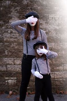 Partners In Mime Costume {homemade halloween costumes} Looking for a last minute costume idea? This mime costume is super simple and can be recreated using… Costume Homemade, Homemade Halloween Costumes, Fete Halloween, Halloween Kostüm, Holidays Halloween, Diy Costumes, Costumes For Women, Children Costumes, Partner Halloween Costumes