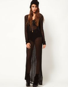 Sheer black maxi dress lingerie or bathing suit cover up