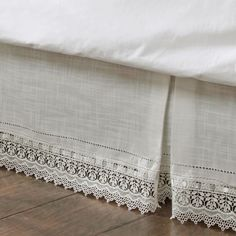The Sophia Ivory Macrame Kick Pleat Bedskirt is the perfect accessory to add that final touch to any bed ensemble. The ivory, polyester bedskirt, with a macrame band on the bottom, has kick pleats and split corners in the drop. Ruffle Bed Skirts, Ruffle Bedding, Linen Bedding, Bed Valance, Bed Wrap, Bed Ensemble, Dust Ruffle, Linens And Lace, Queen Beds