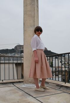 POLKA DOT PLEATED SKIRT via tsouknida. Click on the image to see more!