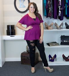 """Real Curves Cutie, Jessica A. rocked an edgy pair of shredded jeans with Backstage Dolman Top. Since her jeans revealed a hint of skin, she opted to wear our Essential Stretch Camisole on top for more coverage. Size: 0x / Height: 5' 7"""" #plussize"""