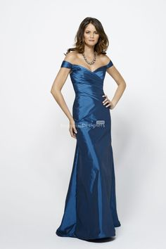 taffeta blue wide neckline long bridesmaid dress with cap-sleeves       US$ 401.00 off US$219.00