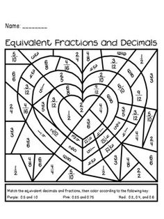 Worksheet Fun 5th Grade Math Worksheets coloring homework and student on pinterest valentines day equivalent fractions decimals activity holiday fun great math practice for big