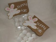 """I've seen the """"snowman poop"""" snack for Winter...this is a cute twist for Spring: bunny tails!"""