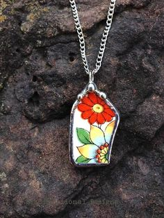 Broken china jewelry shard pendant vintage floral china recycled broken plate necklace