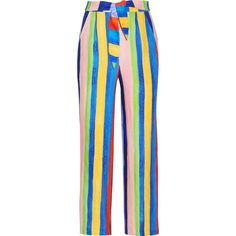 Mara Hoffman Striped organic linen wide-leg pants (£330) ❤ liked on Polyvore featuring pants, trousers, stripe pants, patterned pants, striped pants, colorful pants and blue wide leg pants
