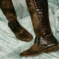 Donald Pliner Suede/leather boots Please purchase these boots in @pantheon2 closet Donald J. Pliner Shoes Heeled Boots