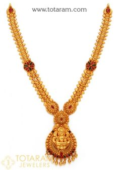 22K Gold Temple Jewellery Necklaces Gold Bangles Design, Gold Jewellery Design, Gold Jhumka Earrings, Gold Necklace, Gold Temple Jewellery, Gold Jewelry Simple, Antique Necklace, Bridal Jewelry, Sterling Silver