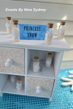 Cute princess snow favors at a Frozen Birthday Party!  See more party ideas at CatchMyParty.com!