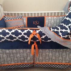 Baby bedding crib set Navy Blue orange grey Gray by abusymother