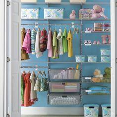 Baby Closet - Shelves and Pull-Out Drawers Closet Shelves, Closet Storage, Entryway Closet, Rustic Entryway, Bathroom Closet, Ideas De Closets, Closet Ideas, Elfa Closet System, Organizar Closet