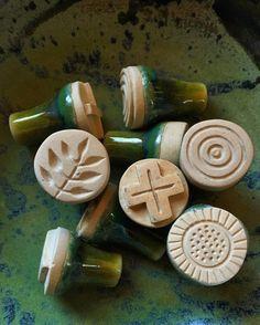 Ceramic stamps I made for clay inside one of my wheel thrown bowls Sellos de cerámica que hice para arcilla en uno de mis tazones hecho en el torno by geninne