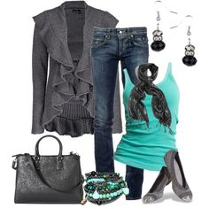 """Aqua and Gray Casual"" Outfit Set by smores1165 on Polyvore!"
