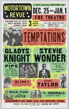 Motortown Revue at the Fox Theatre in Detroit, MI, starring The Temptations, Gladys Knight & the Pips and Stevie Wonder, 1960's