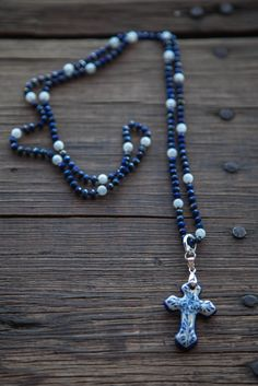 lapis and moonstone with San Ángel cross Beaded Necklace, San, Travel, Jewelry, Jewellery Making, Viajes, Jewerly, Pearl Necklace, Jewelery