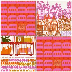 JW: HOw about I buy some copies fo this book and wheatpaste the pages on the wall? From the book Henry's Walk to Paris, illustrated by Saul Bass Textile Patterns, Print Patterns, Textiles, Children's Book Illustration, Illustrations, Surface Pattern, Pattern Art, Saul Bass Poster, Painting Patterns