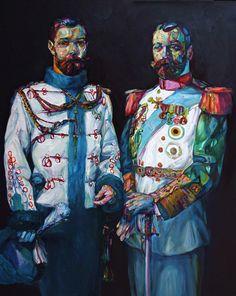 """Aaron Smith """"2 Beards"""", 2009, oil on panel, 60"""" x 48"""""""