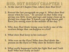 Bud, Not Buddy Powerpoint Study Guide with Comprehension Questions for every chapter. Extended response, ISAT writing, and vocabulary visuals.
