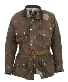 The Barbour MacGrain Waxed jacket is a version of an original 1964 ISDT team jacket as worn by Steve McQueen
