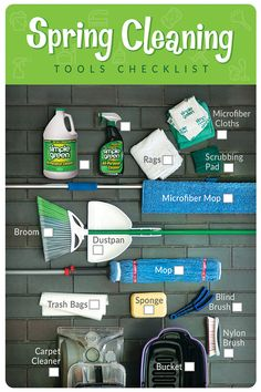 """There's a saying... """"use the right tool for the right job"""". We've made spring cleaning a little easier with this tools checklist. Now on to the hard part... the actual cleaning! Ugh."""