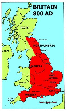 Britain around 800 AD, about half a century before Alfred the Great