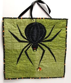 Halloween spider quilt wall hanging large by moonspiritstudios,   **I think I could DIY something like this**