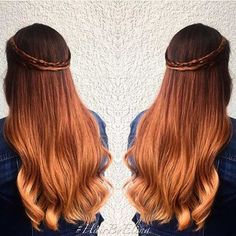 Elegant Hairstyle of Golden Copper Ombre with Dark Roots