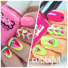 Twin Mani - Paulina's Passions & Cubbiful - Watermelon Nails