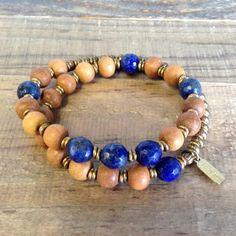 "Sandalwood and Lapis Lazuli ""Sixth Chakra"" 27 Beads Wrap Mala Bracelet™"