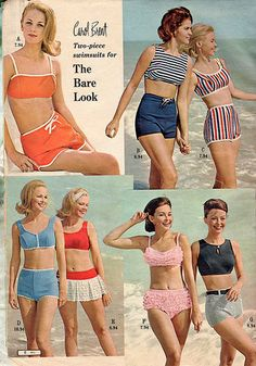 1965 Montgomery Ward Catalog Page - Carol Brent 2 piece swimsuits for the Bare (Mid-Riff) Look - the beginnings of the bikini era Sixties Fashion, 60 Fashion, Fashion History, Retro Fashion, Vintage Fashion, Beach Fashion, Vintage Bathing Suits, Vintage Swimsuits, Vintage Dresses