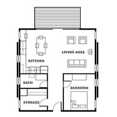 Floor plan - Affordable Cabin Escape - Sunset, why is the storage bigger than the bathroom? Small Tiny House, Tiny House Living, Small House Plans, Small Floor Plans, Cabin Floor Plans, Cottage Plan, Cabins And Cottages, Tiny Spaces, House Layouts