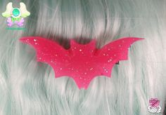 Creepy Cute Bat Hair Clip  Hot Pink by rarasjewels on Etsy, $6.50
