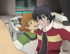 Keith and Pidge making a selfie from Voltron Legendary Defender