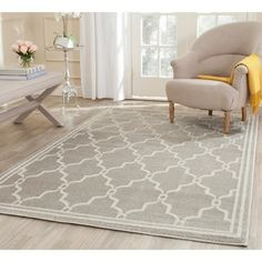 Living Room - Safavieh Indoor/ Outdoor Amherst Light Grey/ Ivory Rug (11' x 16' RECTANGLE)