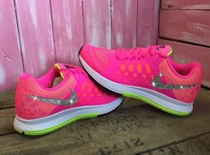 3d33c924f6994 Cheap Feet Running Shoes Shoes Womens Nike Zoom Pegasus 31 Running Shoes  Hot Pink White Lime Customized With Swarovski Crystal Rhinestones Bling
