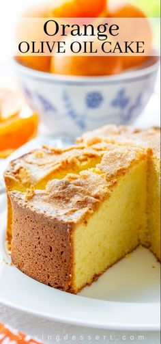 Olive Oil Cake Discover Orange Olive Oil Cake - Saving Room for Dessert Our easy-to-make Orange Olive Oil Cake has a light fine textured luscious crumb and a crackly sugar topping for added sweetness. Brunch Cake, Breakfast Cake, Food Cakes, Cupcake Cakes, Cupcakes, Just Desserts, Dessert Recipes, Health Desserts, Desserts With Oranges