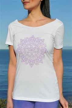Mandala Raw Shoulder Top Yoga Tee Shirt in White by Jala. Stylish twist to a classic look, the Mandala raw shoulder top can be worn on or off the shoulder. $35.95 at www.karmicfit.com #yoga #yogatshirts #yogatees