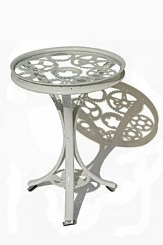 Silver Gear Table - made from recycled Canadian bicycle parts.