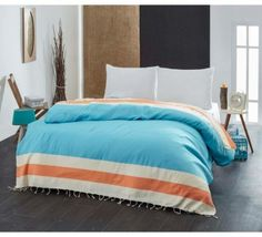Cuvertura Pique Natural - Portacale/Turcoaz Comforters, Blanket, Bed, Natural, Home, Pique, Creature Comforts, Quilts, Stream Bed