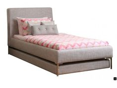 Modern Bed Ideas With Pop Up Trundle Bed: Grey Upholstered Pop Up Trundle Bed Designs With Pink Bedding For Your Bedroom Decor Murphy Bed Frame, Build A Murphy Bed, Murphy Bed Plans, Kids Bed Linen, Beige Bed Linen, Pink Bedding, Luxury Bedding Sets, Pop Up Trundle Bed, Trundle Beds