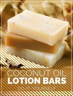 Lotion bars are solid at room temperature and look like a bar of soap. They are easier to make than lotion because it doesn't require any emulsifying with water, which is the tough step. Diy Lotion, Lotion Bars, Lotion En Barre, Diy Lush, Coconut Oil Lotion, Diy Soap Coconut Oil, Coconut Oil Recipe, Homemade Beauty Products, Natural Products