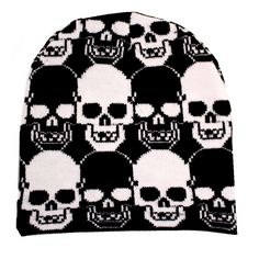 Purple Leopard Boutique - Black Beanie with Black and White Skulls, $10.00 (http://www.purpleleopardboutique.com/black-beanie-with-black-and-white-skulls/)