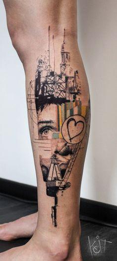 Hamburg theme leg tattoo. Done by KOit Tattoo, Berlin.