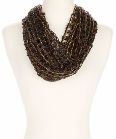 This Black & Gold Fishnet Infinity Scarf is perfect! #zulilyfinds