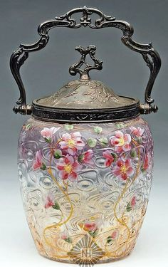 Victorian Art Glass Biscuit Jar With Amber Window Pattern Glass With Original Metal Bail And Handle, Multicolor Floral Enamel Decorations c.1850-1900